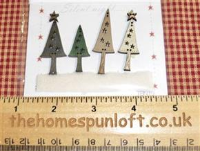 Primitive Silent Night Christmas Wooden Buttons