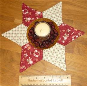 Primitive Star Quilted Candle Mat Table Topper