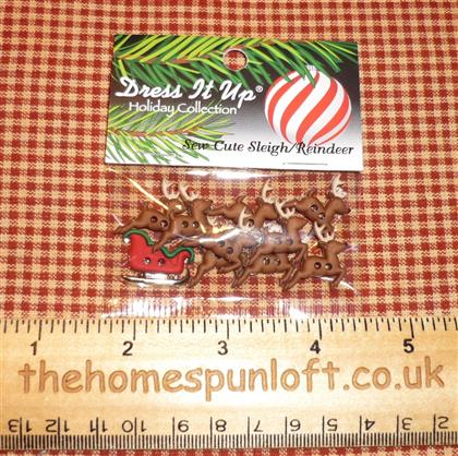 Santa's Sleigh and 9 Reindeer Christmas Buttons