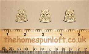 Set of 3 Gold Thimble Wooden Sew Thru Buttons