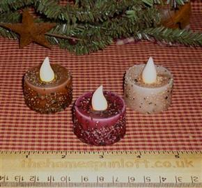 Set of 3 Primitive LED Tealight Candles