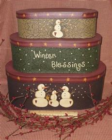 Set of 3 Primitive Winter Blessings Stacking Boxes