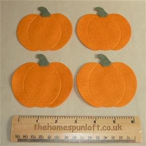 Set of 4 Die Cut Felt Pumpkins Autumn Halloween