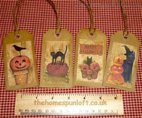 Set of 4 Primitive Halloween Autumn Hang Tags