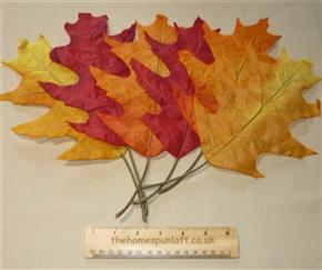Set of 6 Large Autumn Fall Decorative Leaves