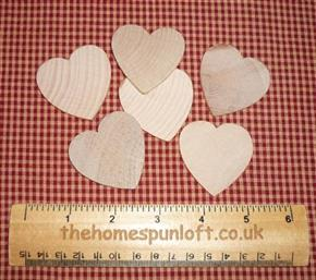 Set of 6 Wooden Heart Cut Outs for Crafting