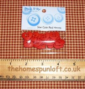 Sew Cute Red Hearts Crafting Buttons