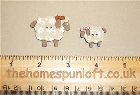 Sheep and Lamb Wooden Sew Thru Button Pack
