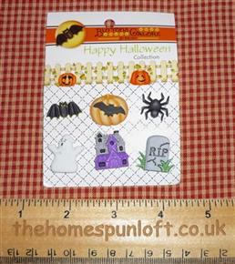 Spooky Happy Hauntings Halloween Autumn Buttons