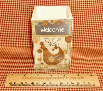 Welcome to our Nest - Primitive Wooden Pen Pot